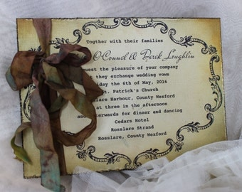 "Shabby Chic Wedding Invitation, Antique Wedding Invitation ""Brandy"""