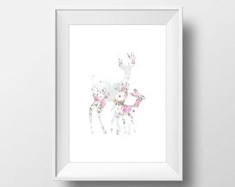 Floral Deer and Fawn Print, Deer Print, Deer Wall Art, Floral Deer, Printable Deer Art, Deer Decor, Animal Nursery Decor