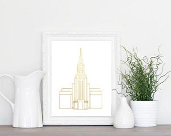 LDS Boston Temple Gold Foil Print