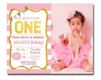 Girls 1st Birthday Invitation, Girls 1st Birthday Invite, 1st Birthday Invite Girl, 1st Birthday Invite Girl, Pink Birthday Invitation