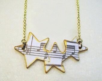 Wood Statement Necklace, Wood Veneer, Music Notes, Stars, Rock Star Necklace, Beatnik, Hipster, BoHo, Indie