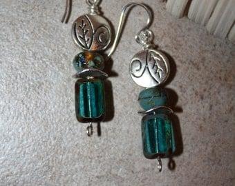 86 Czech glass and silver charm dangle earrings, sterling ear wires, boho, artisan, rustic