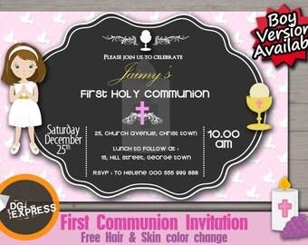"""First Communion Invitation - Girl - """"First Communion Digital INVITATION"""", First Holy Communion Chalkboard Invite, Printable Invite"""