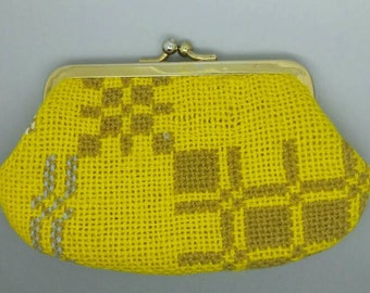 Vintage Woven Coin Purse Mustard Yellow