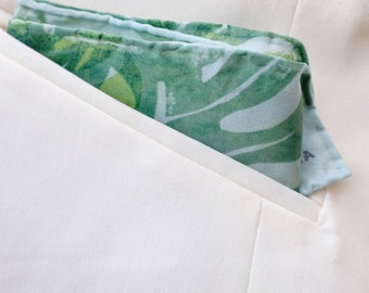 Green Philodendron Pocket Square