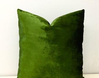 Moss Green Velvet Pillow Covers, Green Pillow, Accent Pillow, Custom Pillow, Green Velvet Cushion Covers Case, Green Velvet Throw Pillows