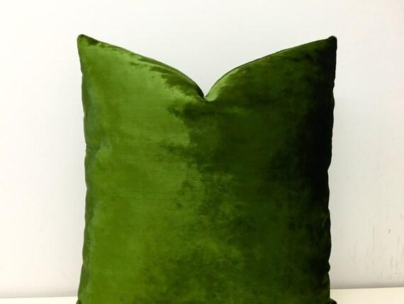 Moss Green Velvet Pillow Covers Green Pillow by artdecopillow