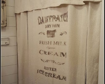 Grain sack Window or Shower Curtain--Daisypatch pattern