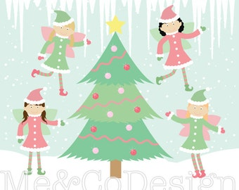 Christmas Fairy Clipart, Fun Cute Clipart, Christmas tree, snow Instant Download, Personal and Commercial Use Clipart, Digital Clip Art