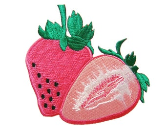 Pink Strawberry Fruit DIY Applique Iron on Patch