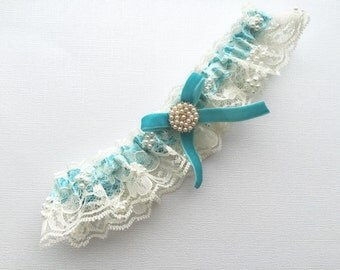 Beaded Lace Wedding Garter, Bridal Garter, Ivory,  turquoise garter.