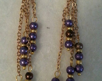 Gold toned chain and glass pearl drop earrings
