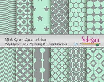 "mint digital paper ""Mint Grey Geometrics"" digital scrapbook paper printable pattern mint grey backdrop gray geometric"