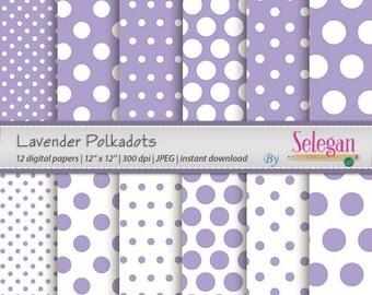 "polka dot digital paper "" Lavender Polkadots "" polka dots, digital scrapbook paper, baby pages, printable background, lavender polka dot"