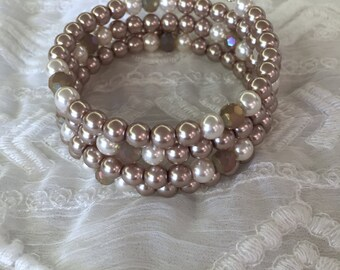 Memory Wire Bracelet with Glass Pearls and Glass Beads