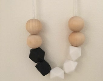 Wooden bead necklace // natural and black and white // hand painted