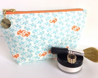 Large Makeup Bag, Nautical Makeup Bag, Sea Horse Makeup Bag, Large Zipper Pouch, Large Cosmetic Bag