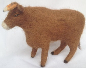 Cow Soft Toy, Needle Felted, Natural Eco Toy