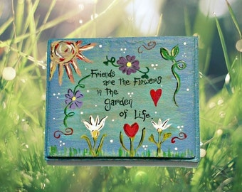 Handmade stepping stone - garden stepping stone  - personalize garden stone - gift for friend -  custom stepping stone - hand painted stone