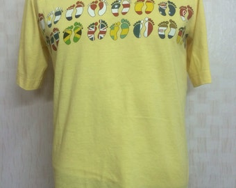 Vintage 80s HANG TEN World Flag Tshirt Polyester Cotton