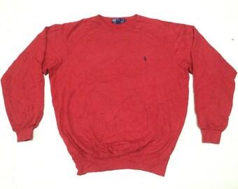 Vintage 90s Polo RALPH LAUREN Small Pony Sweatshirt Red Medium Size