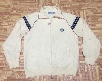 Rare vintage 80s SERGHIO TACCHINI Sweater Jacket Pull Over Zipper