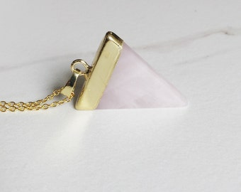 Rose Quartz Necklace, Boho Jewelry, Triangle Pendant Necklace