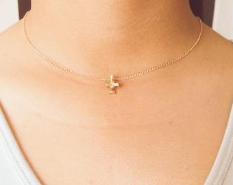 Tiny Cross Necklace, Dainty & Simple