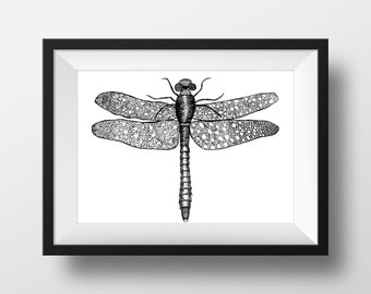 Dragonfly print A5