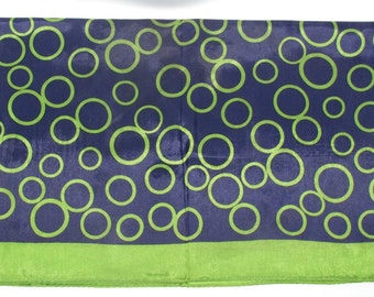 Vintage Olive Green and Navy Blue Scarf. Circles Pattern, Mod Fashion Accessory