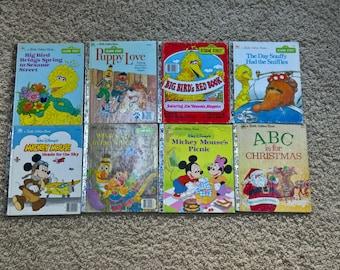 Lot of 8 Vintage Little Golden Books Hardcover Children's Books - Sesame Street, Disney