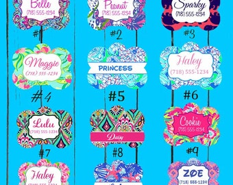 Personalized Dog Tags - Custom Pet ID Tag- Lilly Pulitzer Dog Tag - Custom Made