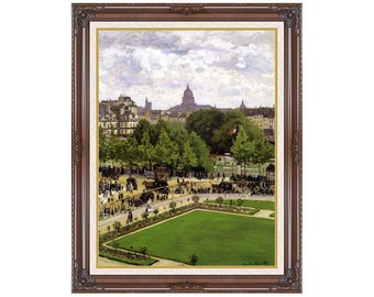 Garden of the Princess Louvre Museum Claude Monet Framed Art Print Canvas Painting Reproduction Sizes Small to Large - M00165