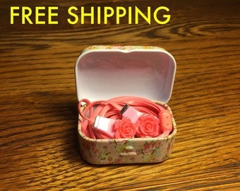 Cute floral earbuds with tin portable case