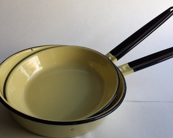 Enamel Frying Pans, Yellow Vintage Pans, 1950's Pans