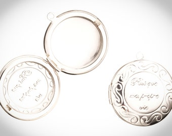 "2 Pcs  ""Plus Que Ma Propre Vie"" Bella Twilight Locket Pendant Silver Plated"