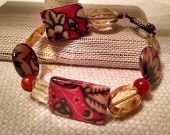 Sunflowers glass beaded bracelet