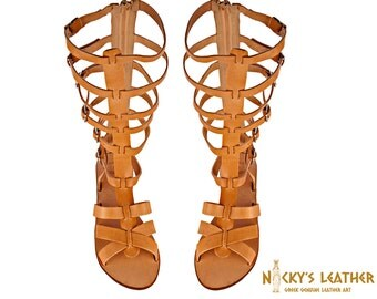 GLADIATOR SANDALS Knee High Boots in Natural color from Full Grain Leather