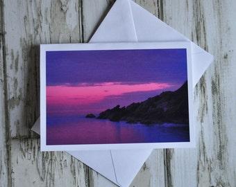 Seascape photograph gift card, landscape photo, beach scene, colour photo gift card, purple landscape