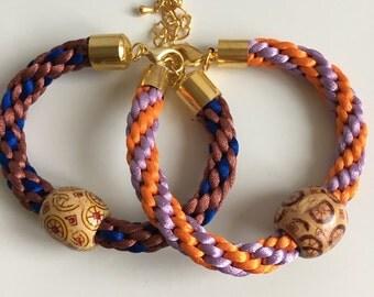 Pair of woven bracelets with wooden bead ,charm bracelets, woven bracelets, pair of bracelets,  ladies bracelets, braided bracelets,