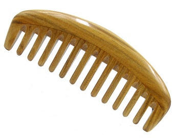 "Natural Green Sandalwood Wide Tooth Massage Comb, No Static Wooden Hair Comb 6.1"" (15.5cm)"