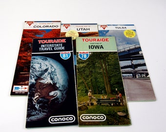 Set of 5 Vintage Conoco Road Maps - Vintage Conoco Maps - Conoco Memerabilia