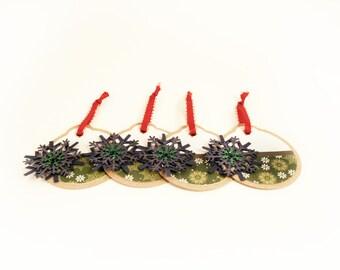 Christmas Gift Tags - Snowflakes - Set of 4
