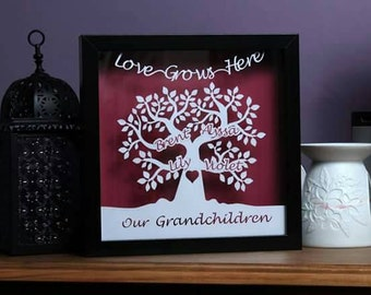 Our Grandchildren personalised papercut family tree framed