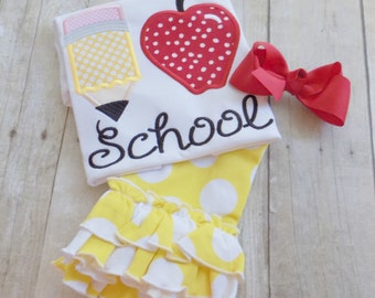 Girls Back to School Outfit, Toddlers Back to School Outfit, Back to School Outfit, Apple,Pencil,I love school outfit,Appliqued,Embroidered,
