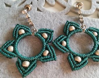Dangle earrings, statement earrings, bohemian earrings, boho jewellery, art deco earrings, star jewellery, perfect gift, modern macrame