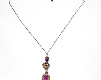 Spear Pendant Necklace With Purple Agate
