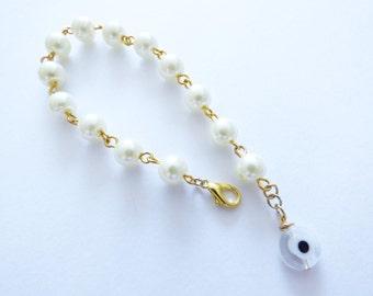 Pearl Bracelet Wiht Evil Eye  PU028