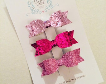 Glittery, Pink Hair Bows