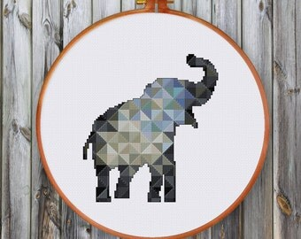 Geometric Elephant cross stitch pattern| Modern animal counted chart| Instant download pdf| Baby cute animal nursery room nature diy decor